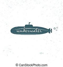 Submarinista azul, ilustración vectorial