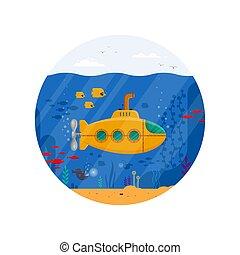 submarino amarillo con el periscopio concepto submarino en círculo. Vida marina con peces, coral, algas marinas, paisaje azul colorido del océano. La plantilla de Bathyscaphe - ilustración del vector plano