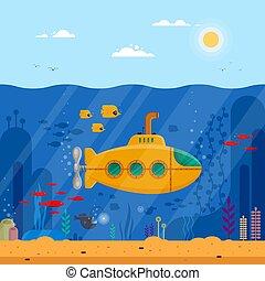 submarino amarillo con un concepto submarino periscopio. Vida marina con peces, coral, algas marinas, paisaje azul colorido del océano. Bathyscaphe plante para la bandera, poster o cubierta de folletos, ilustración de vectores planos