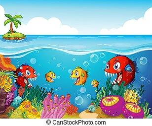 submarino, caricatura, plano de fondo, carácter, peces, muchos, exótico