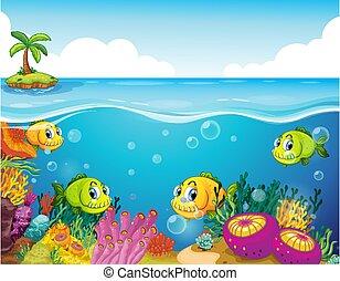 submarino, corales, escena, caricatura, carácter, peces, muchos, exótico