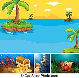 submarino, cuatro, caricatura, escena, diferente, mar, estilo, playa, creater, tropical