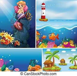 submarino, cuatro, caricatura, escena, diferente, mar, estilo, playa, creater, tropical, sirena