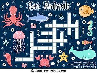 submarino, lógico, crucigrama, mar, hoja, juego, animales, actividad, kids.