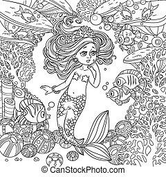 submarino, mundo, asombro, niña, corales, pez, poco, caricatura, marco, plano de fondo, sirena, se comunica, anémonas, contorneado