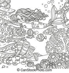 submarino, mundo, corales, peces, niña, poco, plano de fondo, sirena, anémonas, contorneado, hermoso, nade