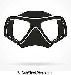 submarino, silueta, símbolo, máscara, buceo, escafandra autónoma