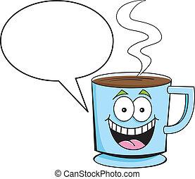 subtítulo, café, globo, taza