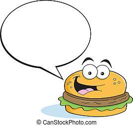 subtítulo, hamburguesa, ba, caricatura