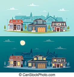 suburbano, casas, banderas, horizontal