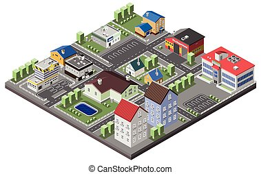 suburbano, concepto, isométrico