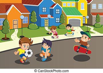 suburbano, niños, calle de vecindario, juego