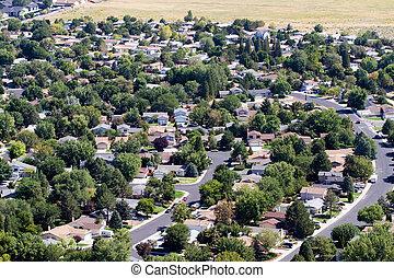 suburbios, aéreo