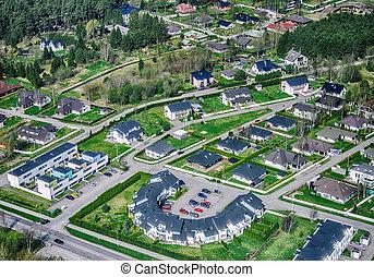 suburbios, vista aérea, ciudad