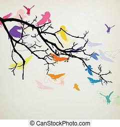 Sucursal vector con pájaros