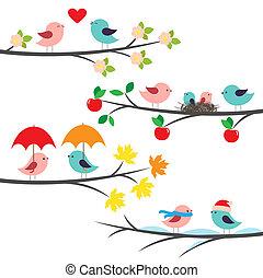 Sucursales estacionales y pájaros