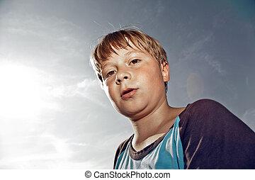 sudar, niño, después, deporte, cara