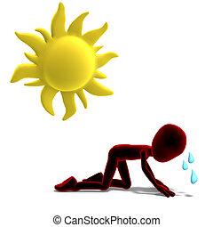 sudar, recorte, icono, toon, encima, carácter, interpretación, sun., trayectoria, blanco masculino, sombra, 3d