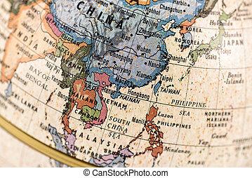 sudeste, globo, asia oriental
