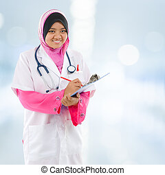 sudeste, médico, musulmán, asiático, student.