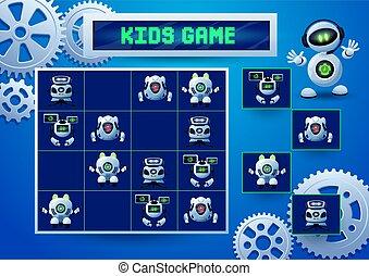 sudoku, engranajes, niños, robotes, juego, piñones