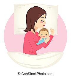 sueño, bebé, madre
