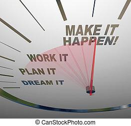 sueño, marca, trabajo, él, cárcel, plan, happen, velocímetro, lograr