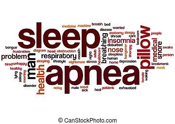 sueño, palabra, apnea, nube