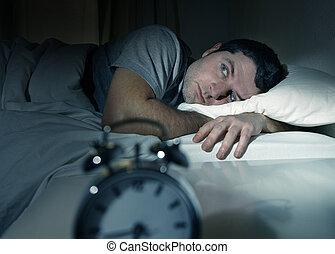 sueño, sufrimiento, ojos, cama, desorden, hombre, insomnio, abierto