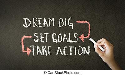 Sueños grandes, objetivos fijos, tomar acción dibujo tiza