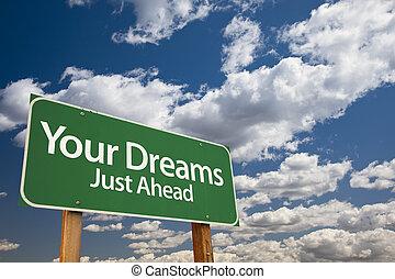 sueños, verde, su, muestra del camino