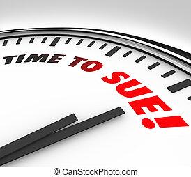 sue, tribunal, reloj, justicia, legal, tiempo, ley, pleito
