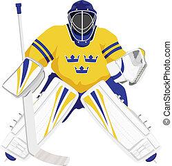 suecia, equipo, portero, hockey