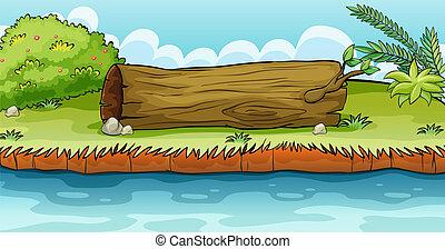 suelo, acostado, tronco