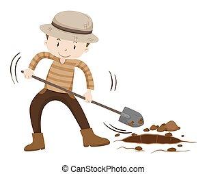suelo, asimiento, cavar, granjero