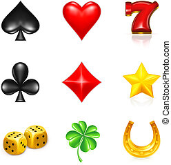 suerte, juego, conjunto, icono
