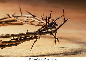 suffering., cristiano, thorns., concepto, corona
