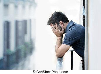 sufrimiento, emocional, depresión, joven, balcón, hombre, crisis, pena