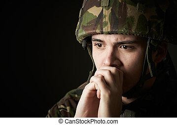 sufrimiento, uniforme, soldado, énfasis