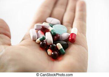 suicidio, encima, píldoras, salud, blanco, o