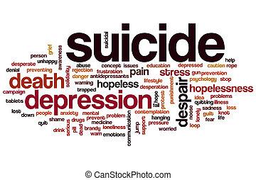 suicidio, palabra, nube
