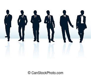 suits., más, hombre de negocios, azul, siluetas, mi, conjunto, vector, oscuridad, gallery.
