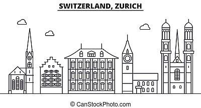 Suiza, línea de arquitectura de Zurich ilustración en el horizonte. Vector lineal Cityscape con puntos de referencia famosos, vistas de la ciudad, iconos de diseño. Landscape wtih derrames editables