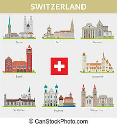 Suiza. Símbolos de ciudades. Vector listo