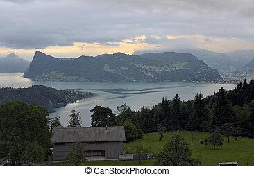 suiza, vista, alfalfa, lago