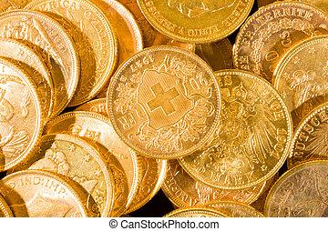 suizo, veinte, coins, francos