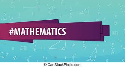 Sujeto de matemáticas. De vuelta a la escuela. Estandarte educativo.
