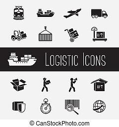 suministro, conjunto, cadena, iconos