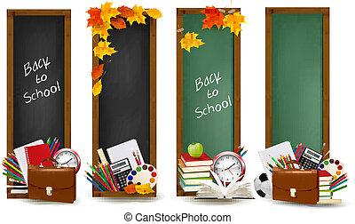 suministros, banderas, escuela, school., vector., cuatro, espalda, leaves., otoño