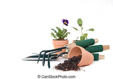 suministros, copia, jardinería, espacio